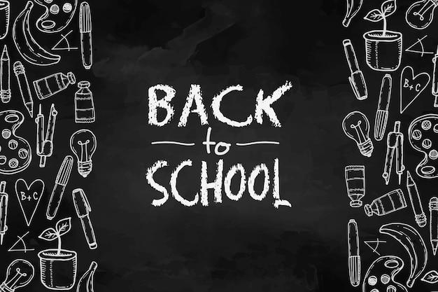 Quadro-negro de volta ao evento da escola