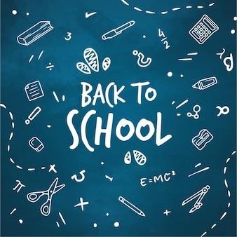 Quadro-negro de volta ao fundo da escola com mensagem