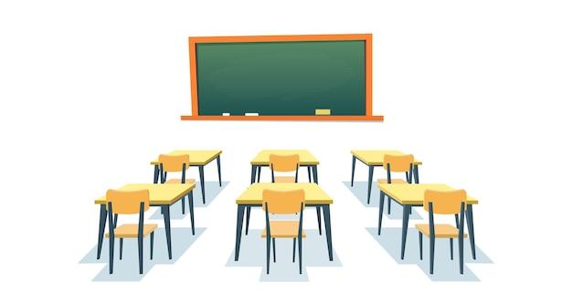 Quadro-negro e carteiras escolares. quadro-negro vazio, mesa de mesa de madeira de sala de aula elementar e mobília da placa de educação da cadeira isolada no fundo branco. ilustração vetorial em estilo simples
