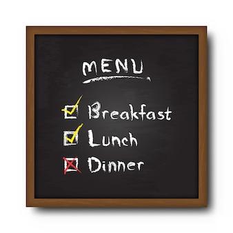 Quadro-negro e menu de comida de texto com a marca de seleção