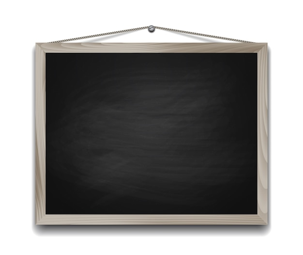 Quadro negro em moldura de madeira. ilustração do fundo da volta à escola