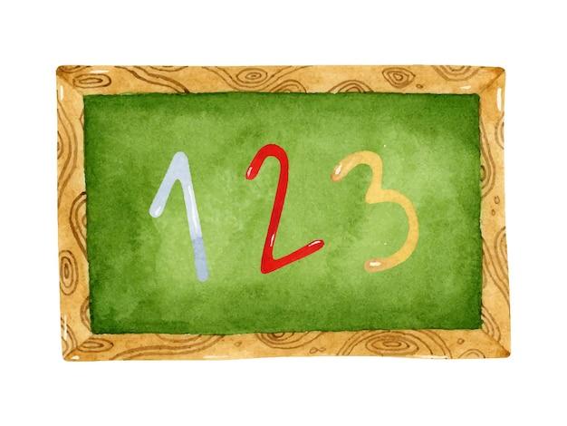 Quadro-negro escolar com elementos de ilustração em aquarela de números