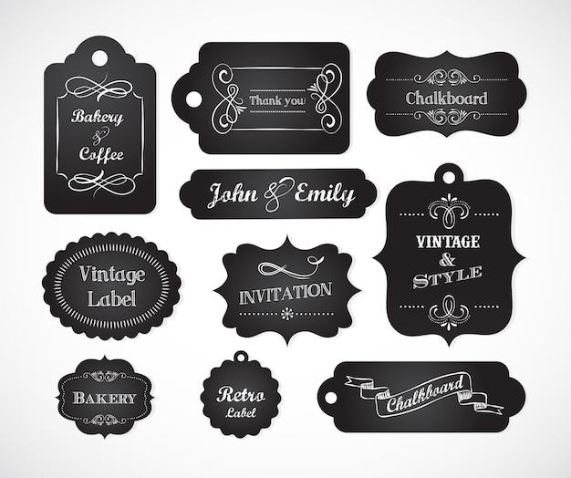 Quadro-negro escrito à mão com elementos e molduras vintage