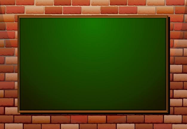 Quadro negro na parede de tijolos Vetor grátis
