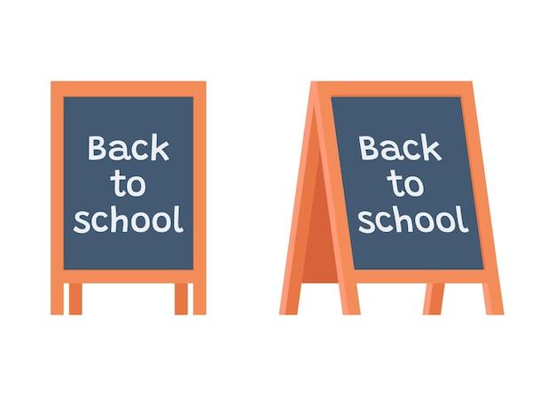 Quadro-negro suporte de quadro-negro sobre educação com o título volta às aulas escola de administração de sanduíches