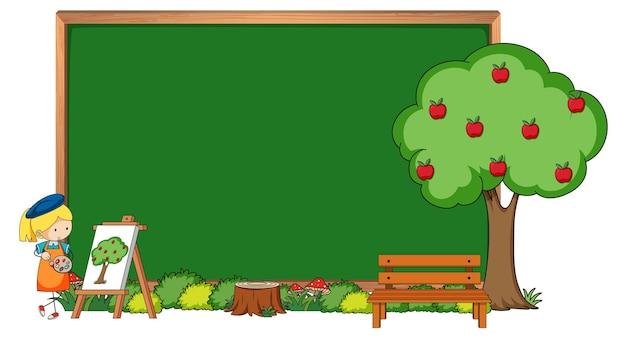 Quadro-negro vazio com uma artista e uma macieira isolada