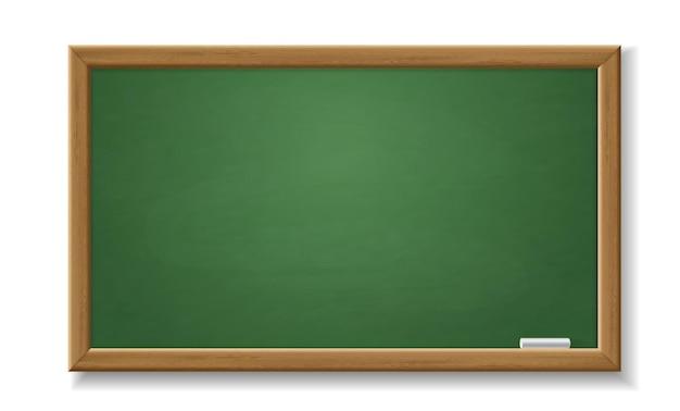 Quadro-negro verde. lousa velha realista vazia com moldura de madeira objeto de sala de aula de vetor