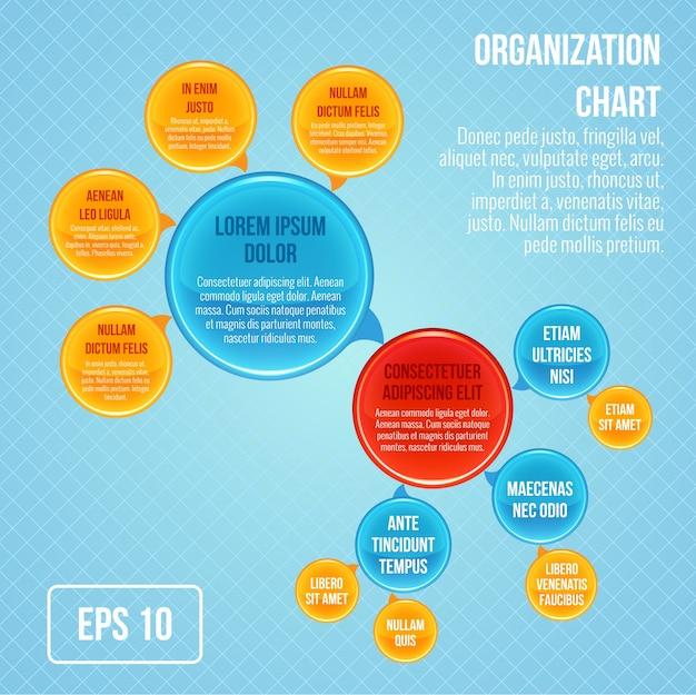 Quadro organizacional infográfico negócio bolhas círculo trabalho estrutura ilustração vetorial