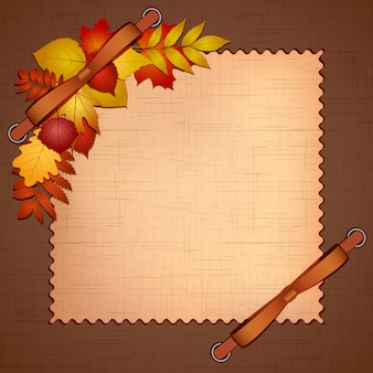Quadro para foto ou convites com folhas de outono. ilustração