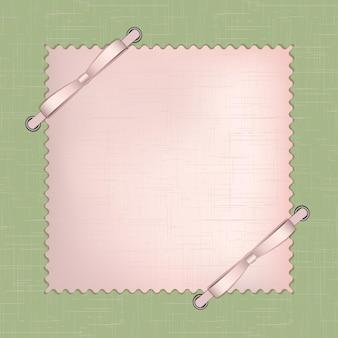 Quadro para foto ou convites com laços rosa sobre fundo verde. ilustração vetorial