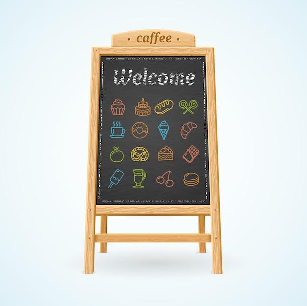 Quadro preto do menu e ícones coloridos para cafés e restaurantes.