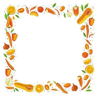 Quadro quadrado das frutas e legumes. conceito de comida saudvel.