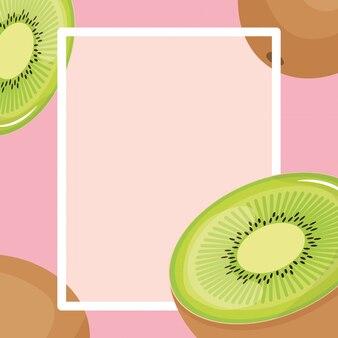 Quadro quadrado de frutas exóticas kiwi fresco