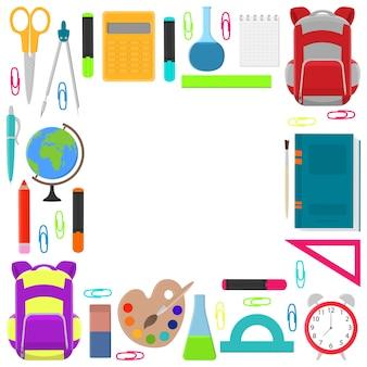 Quadro quadrado de material escolar