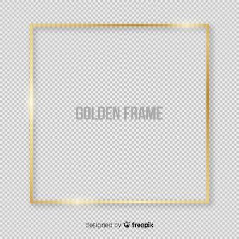 Quadro quadrado dourado realista