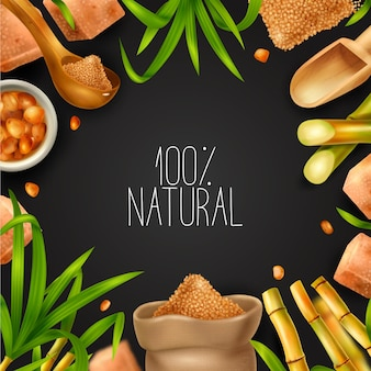 Quadro realista de cana-de-açúcar com produção natural