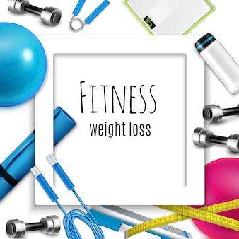 Quadro realista de fitness de perda de peso
