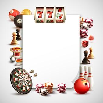 Quadro realista de jogos com folha branca para foto de texto