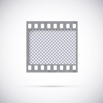 Quadro realista de película de filme de 35 mm. molde do negativo da foto em branco vazio. no fundo branco
