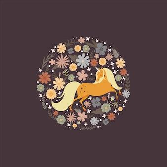 Quadro redondo bonito com um unicórnio mágico rodeado de flor