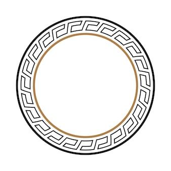 Quadro redondo chave grego. borda do círculo de motivos egípcios, assírios e gregos típicos.