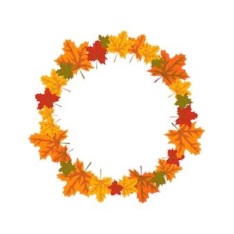Quadro redondo com folhas de bordo laranja e amarelo brilhante grinalda de outono com presentes da natureza com espaço vazio.