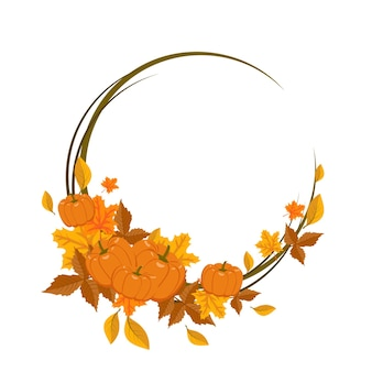 Quadro redondo com folhas de bordo laranja e amarelo e abóboras. grinalda de outono brilhante com presentes da natureza e ramos com espaço vazio para texto