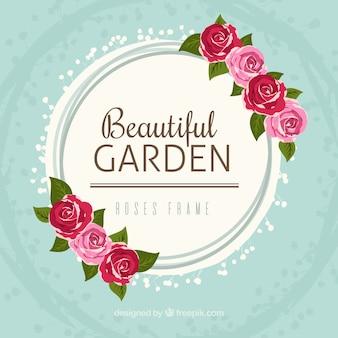 Quadro redondo com rosas bonitas