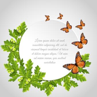 Quadro redondo de borboletas