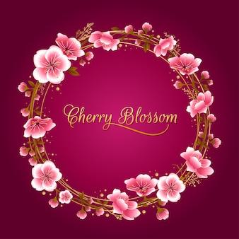 Quadro redondo de flor de cerejeira rosa