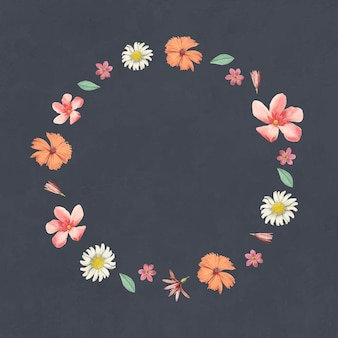 Quadro redondo de flores mistas