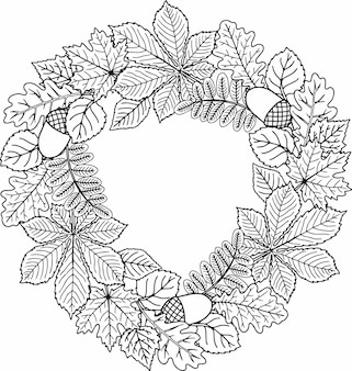 Quadro redondo de folhas de árvores diferentes. página de livro para colorir para adultos
