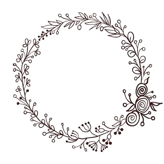 Quadro redondo de folhas isolado no branco