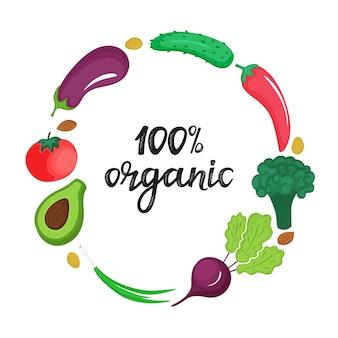 Quadro redondo de frutas exóticas e de jardim. 100 por cento orgânico mão desenhada letras. conceito de nutrição natural saudável