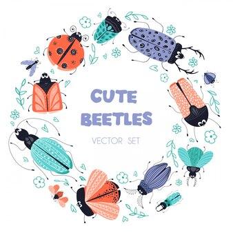 Quadro redondo de insetos ou besouros de desenhos animados
