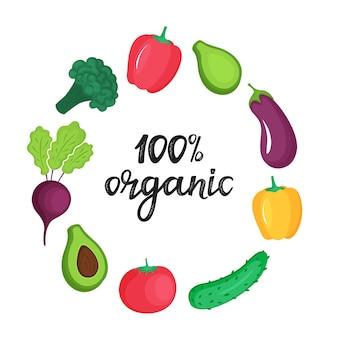 Quadro redondo de legumes frescos. 100 por cento orgânico mão desenhada letras.