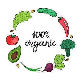 Quadro redondo de legumes frescos em estilo doodle. 100 por cento orgânico mão desenhada letras.