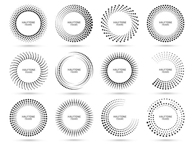 Quadro redondo de meio-tom. círculo pontilhado, quadros de meios-tons de ponto abstrato vintage e círculos de pontos aleatórios definidos.