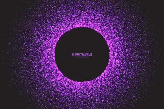 Quadro redondo de partículas brilhantes roxo brilhante