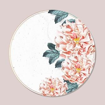 Quadro redondo de peônia floral