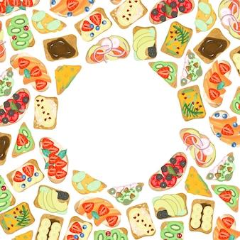 Quadro redondo de sanduíches vegetarianos com frutas e legumes, mão desenhada sobre um fundo branco