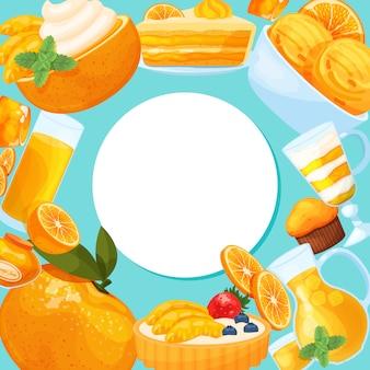 Quadro redondo de sobremesas saborosas. bolos de doces, rosquinhas, doces e outros petiscos isolados em azul., lugar para texto