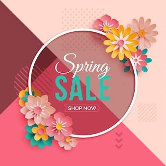 Quadro redondo de venda de primavera com flores de papel