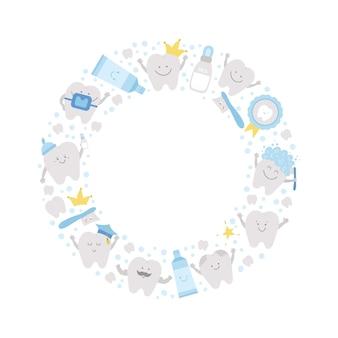 Quadro redondo de vetor com dentes bonitos. modelo de cartão de grinalda com escova de dentes sorridente engraçada kawaii, bebê, molar, pasta de dente, dente. foto engraçada de atendimento odontológico para crianças em um círculo