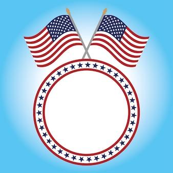 Quadro redondo de vetor de duas bandeiras americanas, 4 de julho