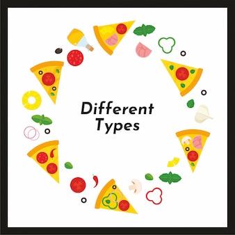 Quadro redondo de vetor de pizza e ingredientes.