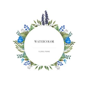 Quadro redondo do vetor da aquarela de flores selvagens coloridas.