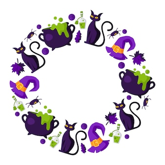 Quadro redondo dos desenhos animados de halloween com elementos - gato preto assustador, caldeirão e garrafa com poção, doces, folha de outono, aranha