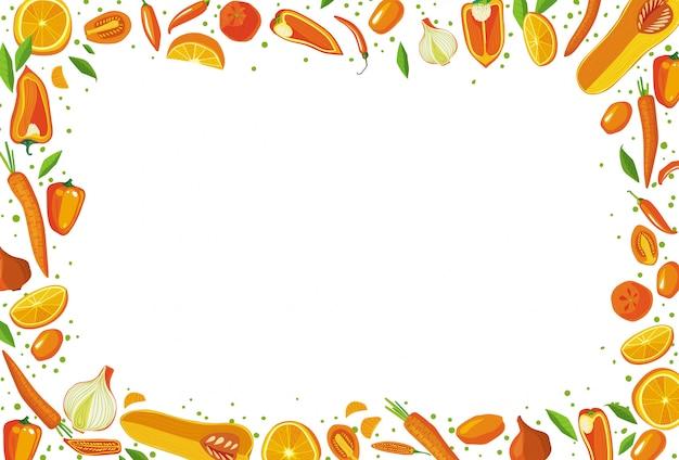 Quadro retangular de frutas e legumes. conceito de comida saudvel.
