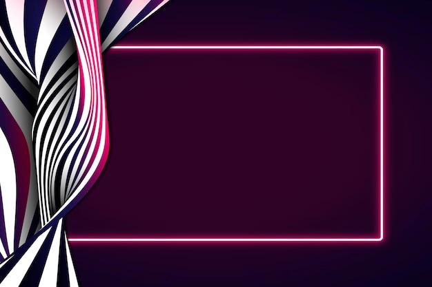 Quadro retângulo de néon vermelho em um fundo abstrato